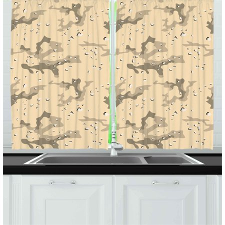 Camo Curtains 2 Panels Set, US Armed Forces Background Hiding in the Desert Theme Design, Window Drapes for Living Room Bedroom, 55W X 39L Inches, Pale Orange Sage Green Army Green, by Ambesonne](The Living Desert Halloween)