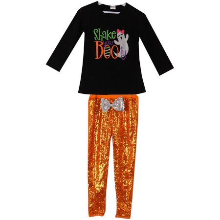 Xs Stock Halloween Outfits (Toddler Girls 2 Pieces Pant Set Halloween BootyT-Shirt Top Sequin Kids Outfit Black 2T XS)