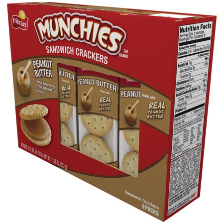 (2 Pack) Munchies Peanut Butter Sandwich Crackers, 8 Packs