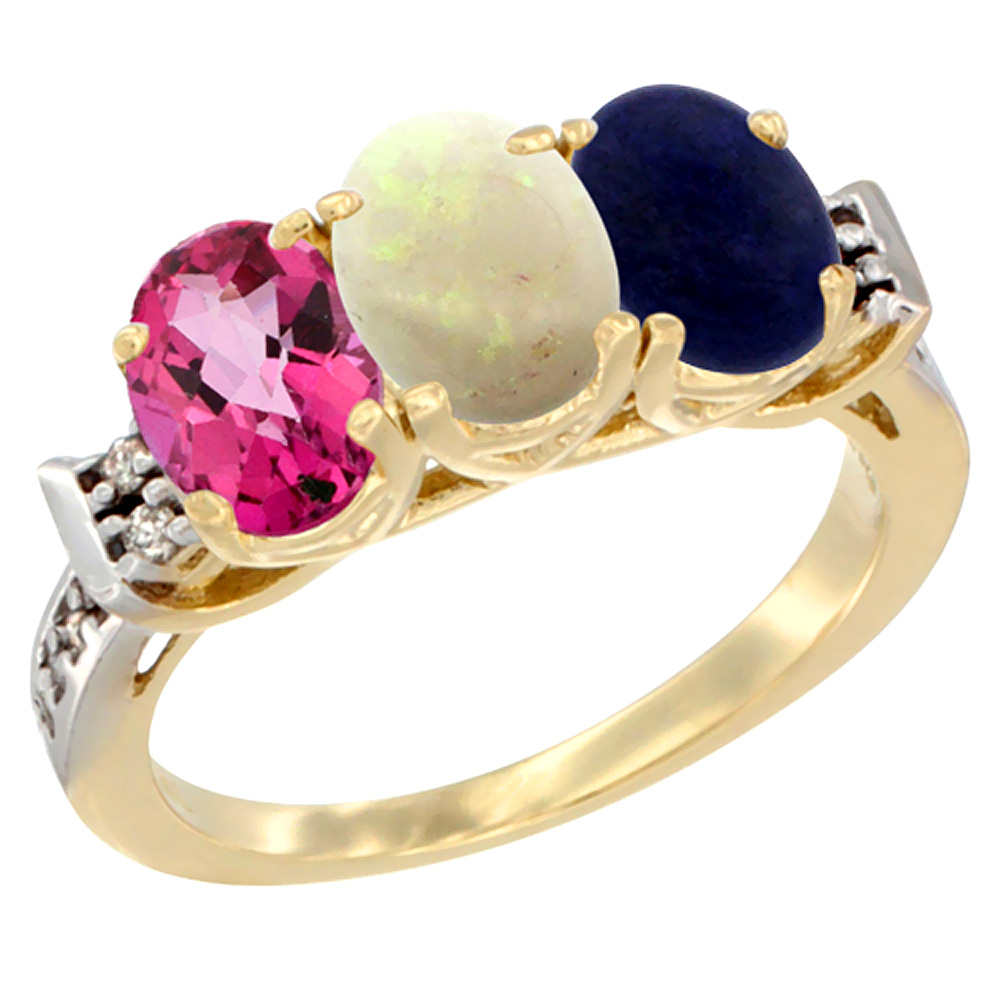 10K Yellow Gold Natural Pink Topaz, Opal & Lapis Ring 3-Stone Oval 7x5 mm Diamond Accent, sizes 5 10 by WorldJewels