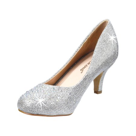 womens kitten heel pumps silver pumps glitter rhinestone shoes 2 1/2 inch -
