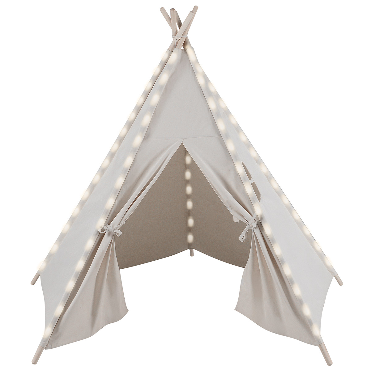 Clevr 6' Kids White Teepee Play Tent House, Ready-to-Paint Canvas, Cool White LED Lights by Clevr