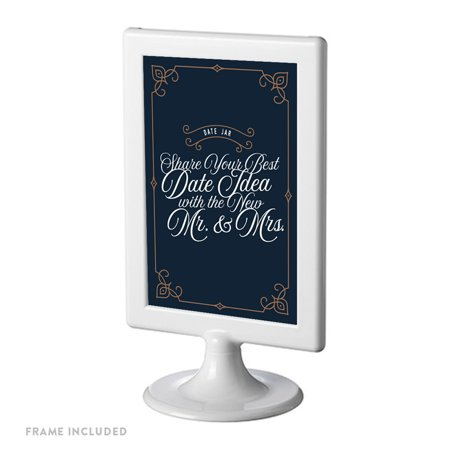 Navy Blue Art Deco Vintage Framed Party Signs, Date Jar Share Your Best Date, 4x6-inch, Includes Frame