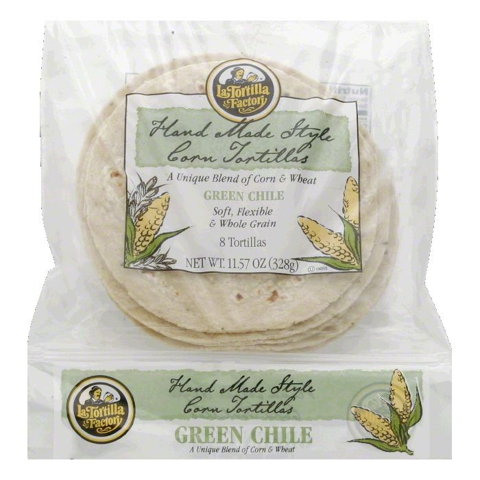 La Tortilla Factory Hand Made Style Corn Tortillas, Green Chile, 8 Ea (Pack of 12)