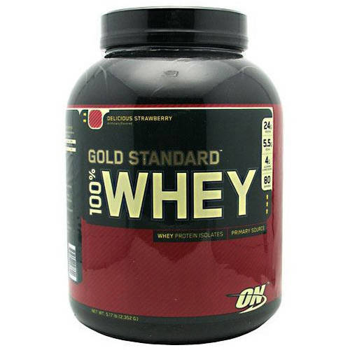 Optimum Nutrition 100% Whey Gold Standard, Delicious Strawberry, 5 LB
