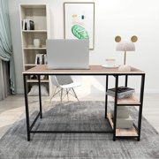 Writing Computer Desk Simple Study Desk Notebook Table for Home Office Metal Frame Easy Assembly with 2 Storage Shelves ,Black+White oak