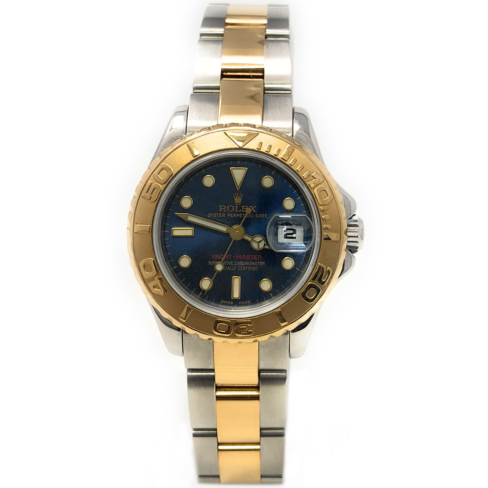 Rolex Yacht-Master 169623 Blue Luminous dial and an 18kt Yellow Gold Bidirectional Bezel (Certified Pre-Owned)