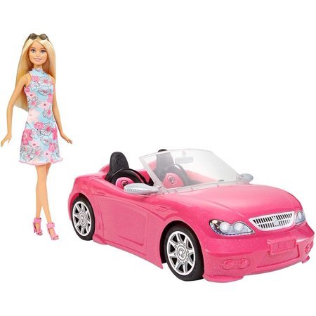 Barbie Mattel Barbie Doll and Pink Convertible Vehicle Playset (2pc Set) Collectible - Mattel Barbie Doll Clothing