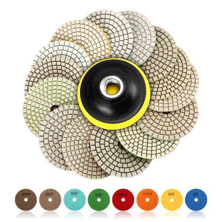 Diamond Stone Marble Polishing Pad (SPTA 15pcs Diamond Wet Polishing Pads Set, 4 inch pads for Granite Stone Concrete Marble Floor Grinder or Polisher, 50#-6000# with Hook & Loop Backing Holder)
