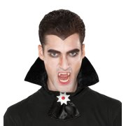 Vampire Collar With Medallion 2pc Costume Accessory, Black Silver Red, One Size