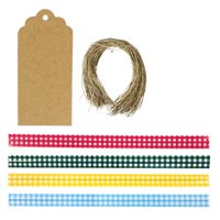 """Wrapables 200pcs 4.75"""" Gingham 1 Twist Ties W 20 Scalloped Gift Tags - NEW"""