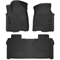 Husky Liners X-act Contour Front & 2nd Seat Floor Liners Fits 2019 Chevrolet Silverado 1500 Crew Cab, 2019 GMC Sierra 1500 Crew Cab w/ factory storage box