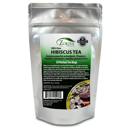 Hibiscus Tea 30 Bags 100% Natural Premium Antioxidant Rich Tea Resealable