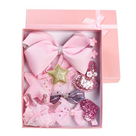 Baby Princess Little Girls Lovely Bowknot Crown Hair Accessories Hair Clip Assorted Design Mixed Color 9pcs Set with Original Gift Box (Pink)
