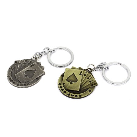 Metal Playing Cards Pokers Pendant Split Key Ring Keychain Decor 2pcs - image 2 de 2