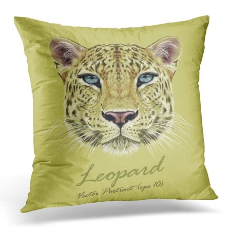 ARHOME Black Tiger Illustrative Portrait of Leopard Cute Face African with Blue Eyes White Cat Throw Pillow Case Pillow Cover Sofa Home Decor 16x16 Inches Blue Eyed White Cats