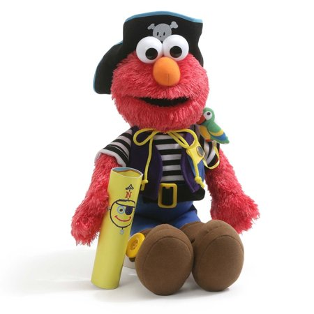 Elmo's World Teach Me Pirate Plush Sesame Street Stuffed ToyIncludes a tethered parrot and a map to Elmo's world By GUND (Pirate Stuff)
