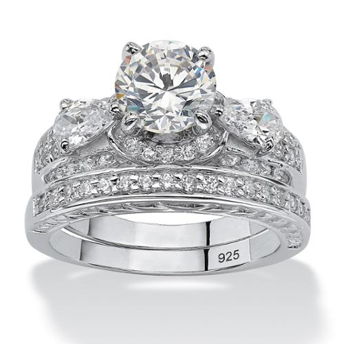 3.46 TCW Round Cubic Zirconia Platinum over Sterling Silver Bridal Engagement Ring Set - Size 6