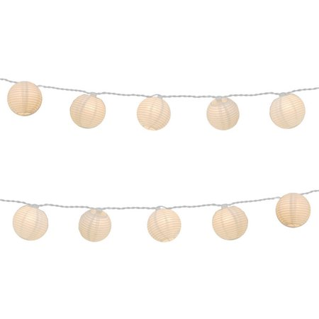 Set of 10 White Fabric Round Chinese Lantern Summer Garden Patio Christmas Lights - 7.5 ft White Wire