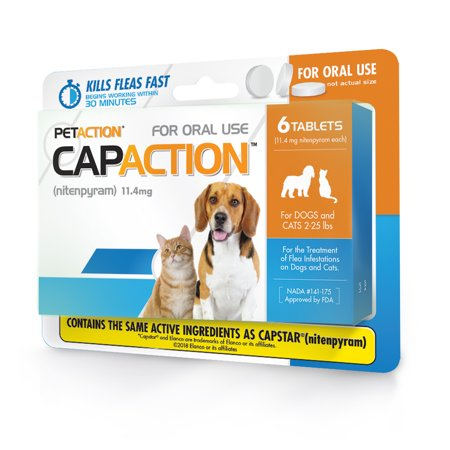 CapAction Fast Acting Flea Treatment for Small Dogs and Cats, 6