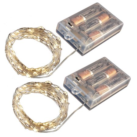 LumaBase Battery Operated LED Waterproof Mini String Lights with Timer, 100 Total Lights, 2-Pack