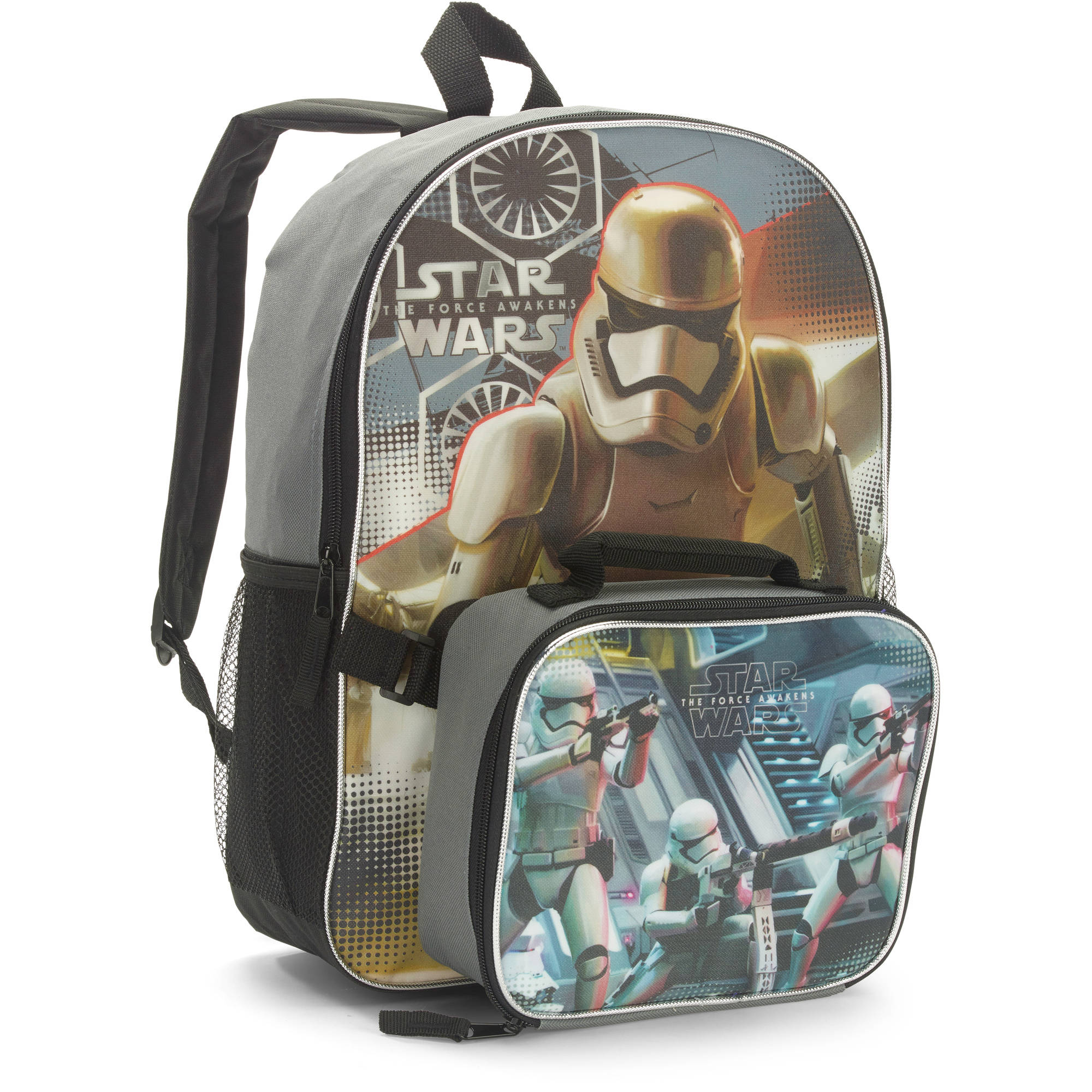 "Lucas Star Wars Episode 7 Full Size 16"" Backpack w/ Detachable Lunch Bag"