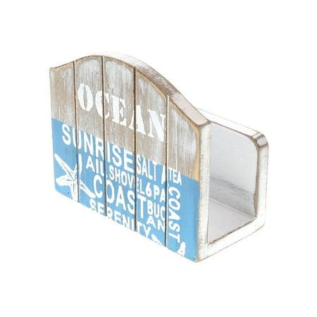 CoTa Global Aqua Sky Wooden Napkin Tissue Holder, 4.75″L x 2.3″W x 4″H Rustic Handcrafted Starfish Coastal Kitchen Organizer Unique Grey Centerpieces - Beach Sea Life Themed Home Accent Accessories ()