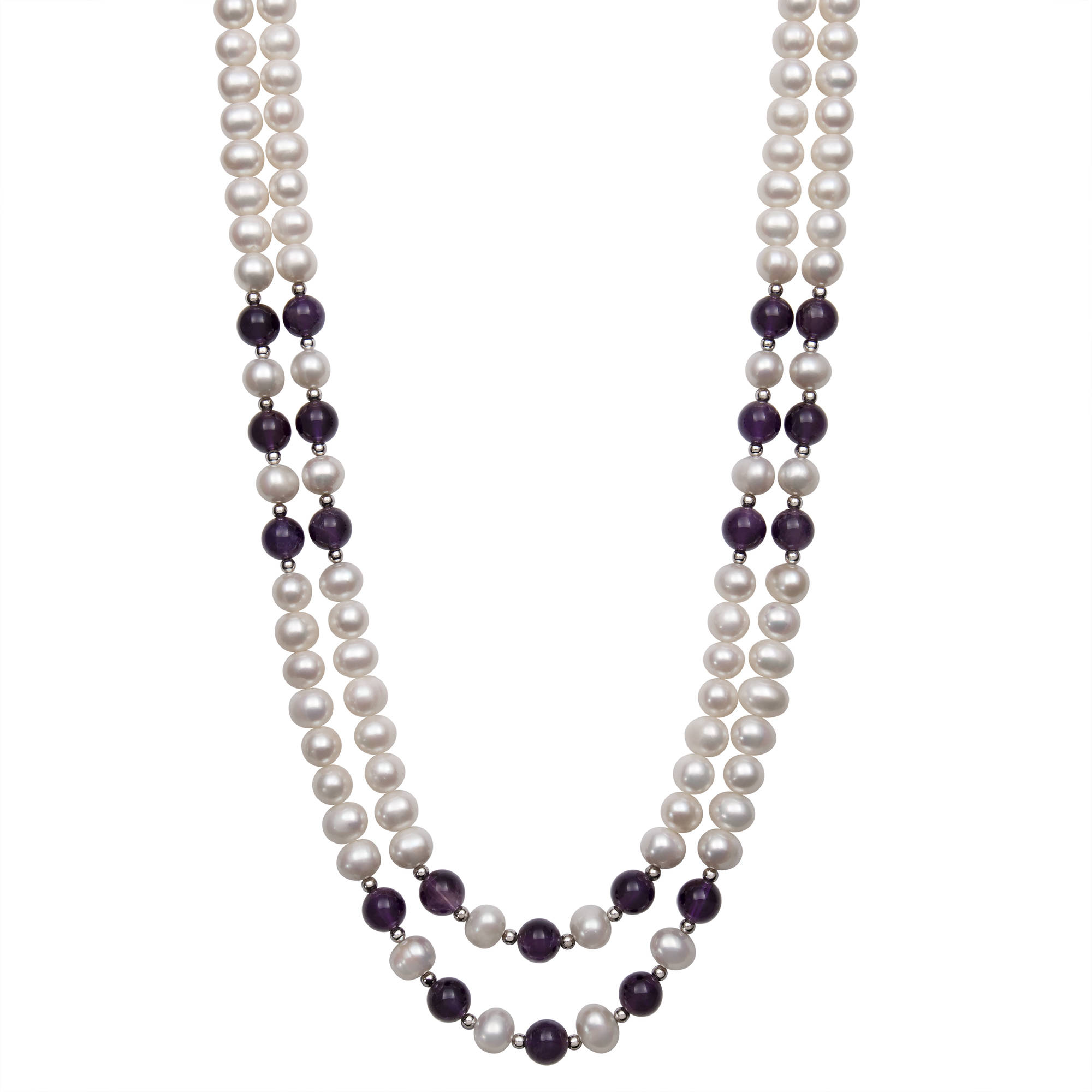 "7-8mm Cultured Freshwater Pearl and 8mm Amethyst 2-Row Necklace with Sterling Silver Accent Beads, 17"" 19"" by China Pearl"