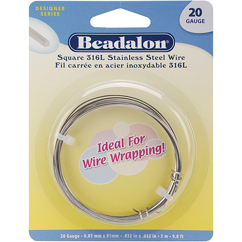 Stainless Steel Wrapping Wire, Square, 20 Gauge, 3 m/pkg