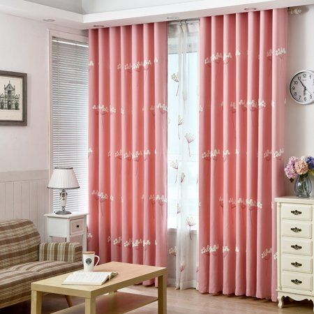 Pastoral embroidered dandelion blackout velvet linen half shade polyester/polyester perforated curtain screen (A1) cloth polyester powder (A1 Polyester)