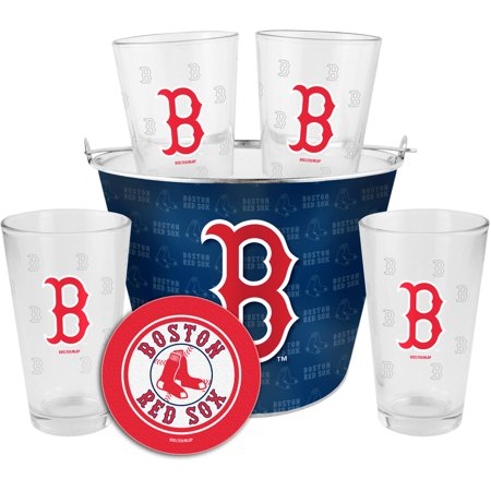 Boelter Brands MLB Gift Bucket Set, Boston Red Sox Boston Red Sox Glass