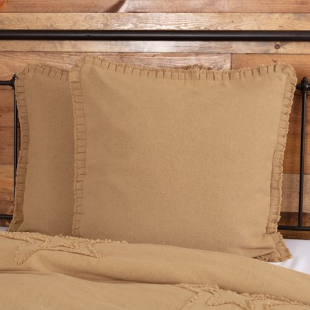 Natural Tan Farmhouse Bedding Veranda Burlap Tan Fringed Ruffle Cotton Cotton Burlap Solid Color Euro Sham ()