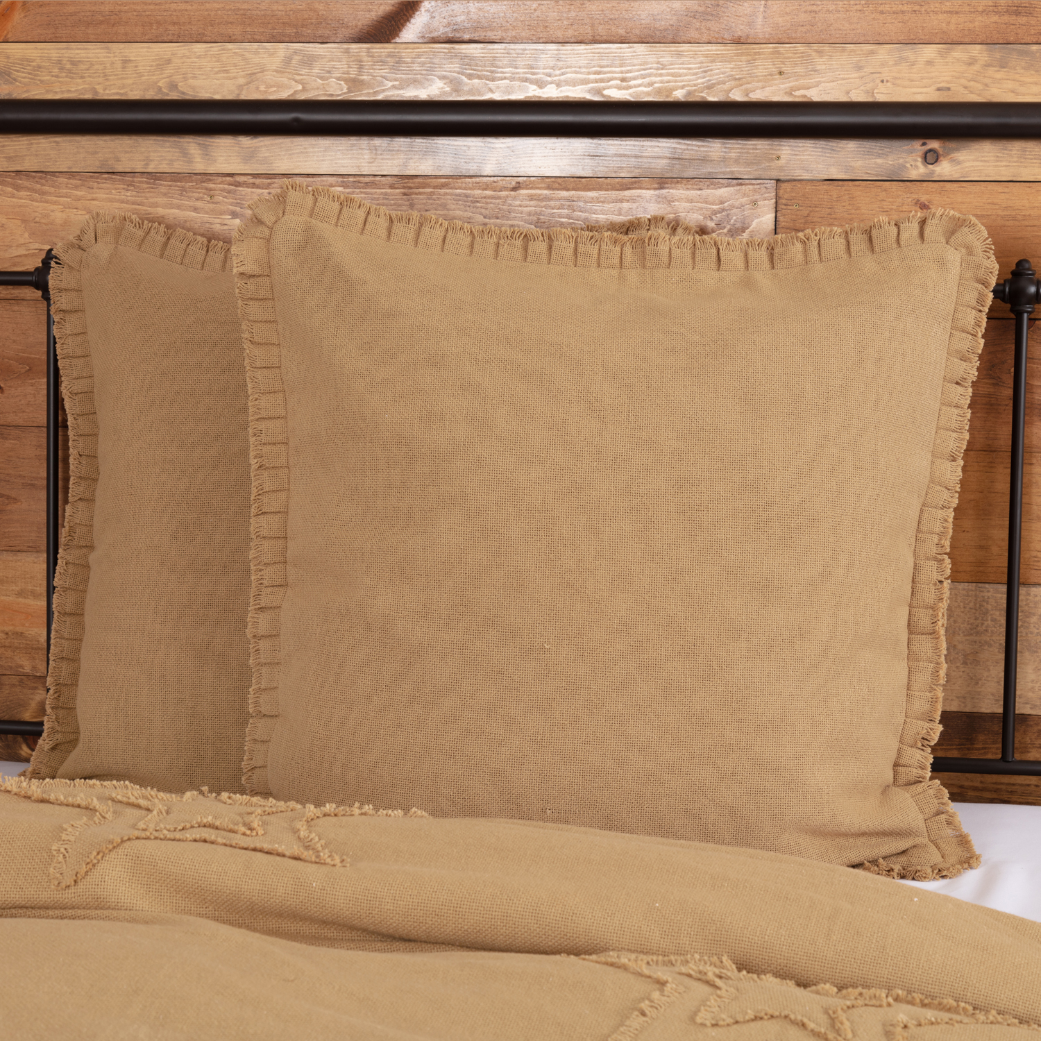 Natural Tan Farmhouse Bedding Veranda Burlap Tan Fringed Ruffle Cotton Cotton Burlap Solid Color Euro Sham