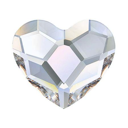 Heart Shaped Swarovski Crystal - Swarovski Crystal, #2808 Heart Flatback Rhinestone 10mm, 4 Pieces, Crystal AB