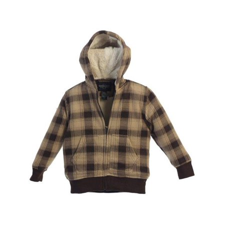 Little Boys Tan Brown Plaid Sherpa Lining Hooded Flannel Jacket 4-7