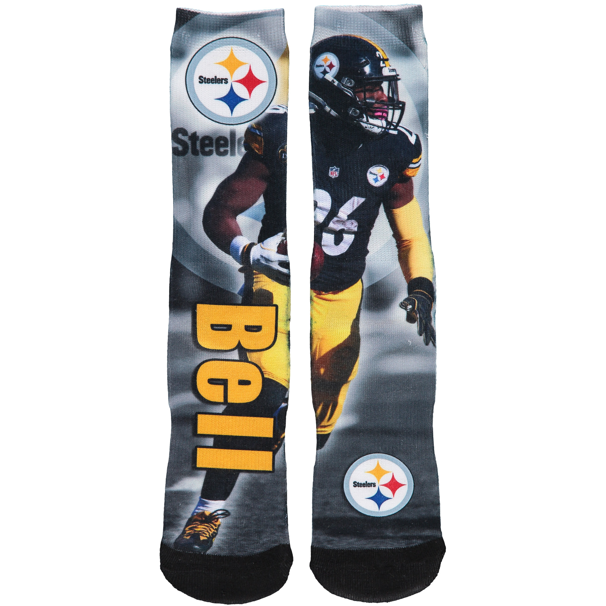 Le'Veon Bell Pittsburgh Steelers For Bare Feet Youth Player Montage Tri-Blend Crew Socks - No Size