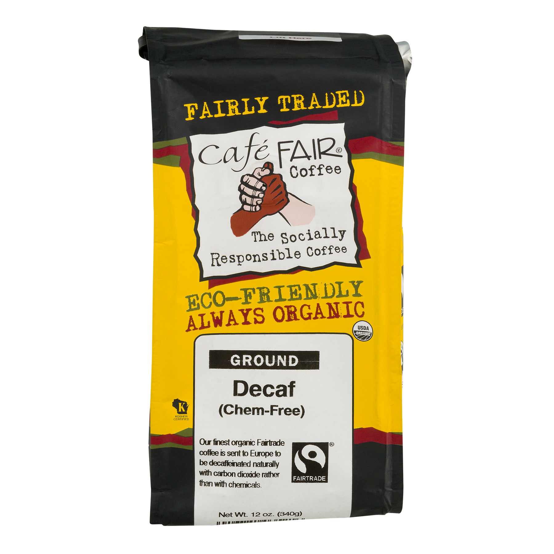 Cafe' Fair Ground Decaf Coffee, 12.0 OZ