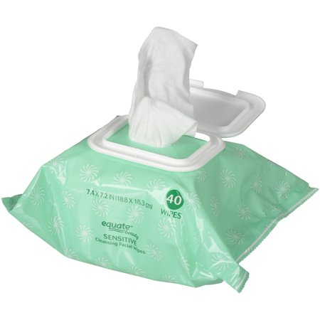 Sensitive Skin Wipes ((2 Pack) Equate Beauty Sensitive Cleansing Facial Wipes, 40)
