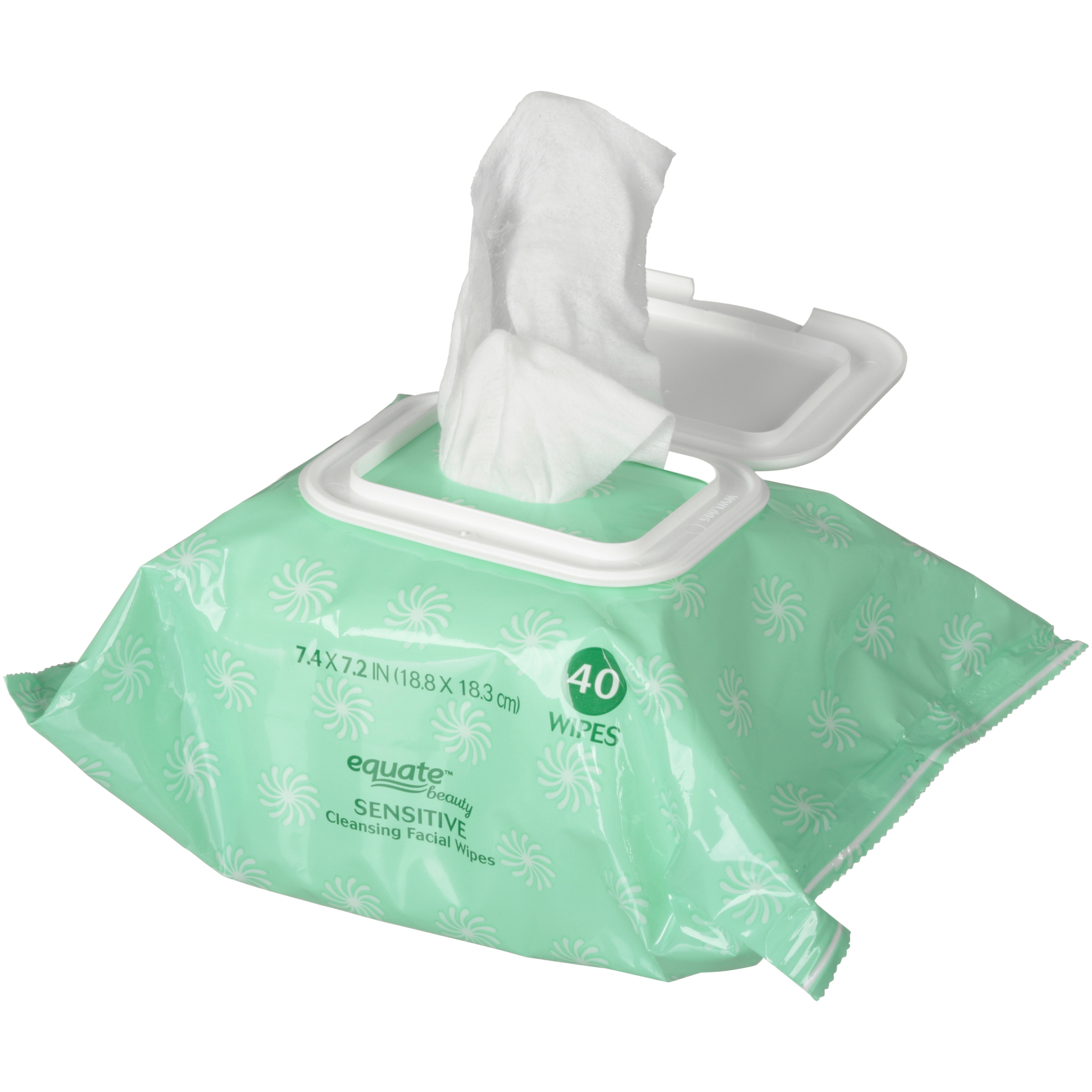Equate Beauty Sensitive Cleansing Facial Wipes, 40 Ct
