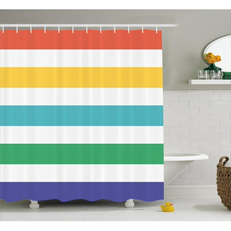 extra brown and red shower curtain. Striped Shower Curtain  Rainbow Colored and White Fun Horizontal Lines Kids Room Red Yellow Blue