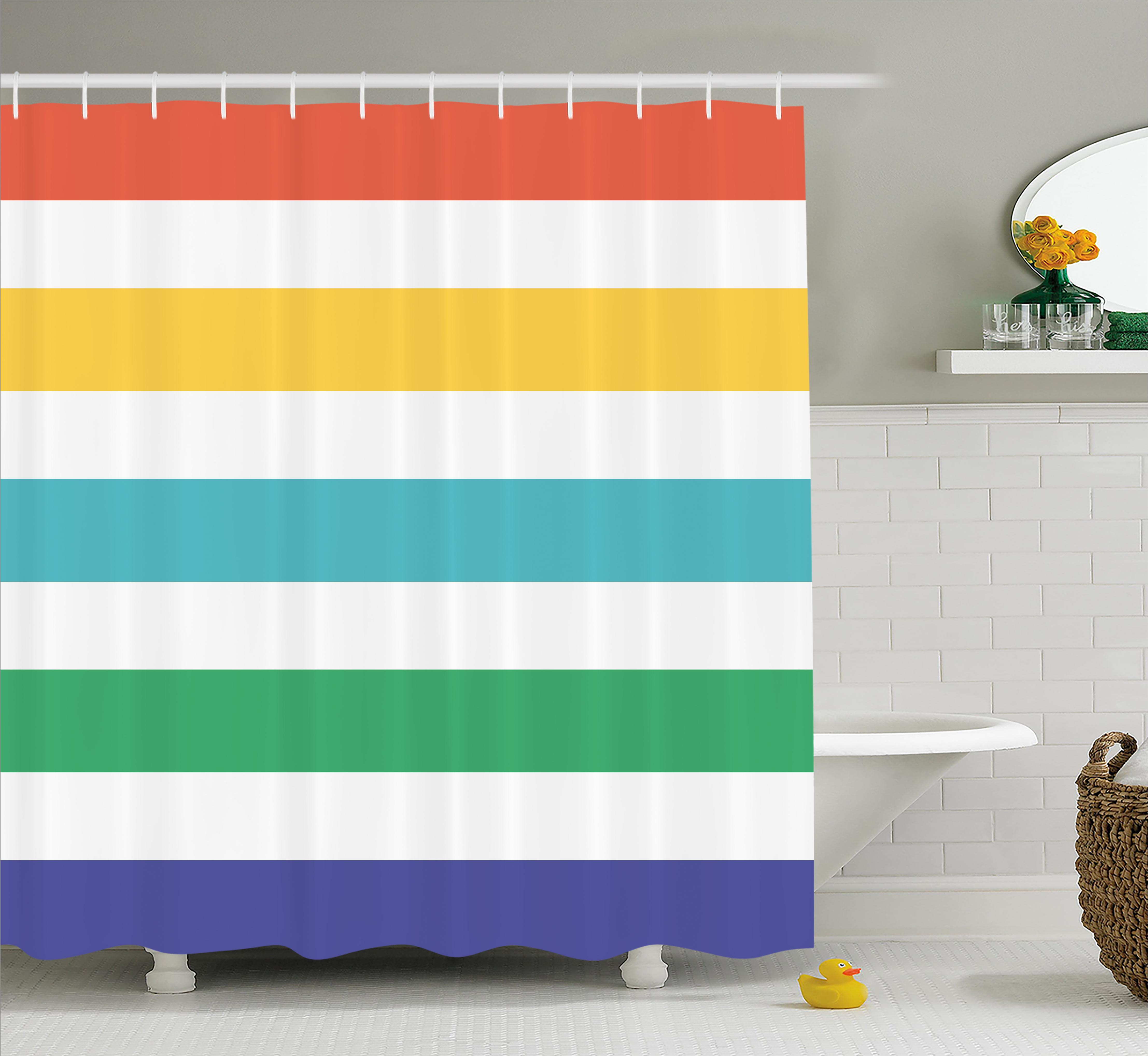 Striped Shower Curtain, Rainbow Colored And White Fun Horizontal Lines Kids  Room Red Yellow Blue