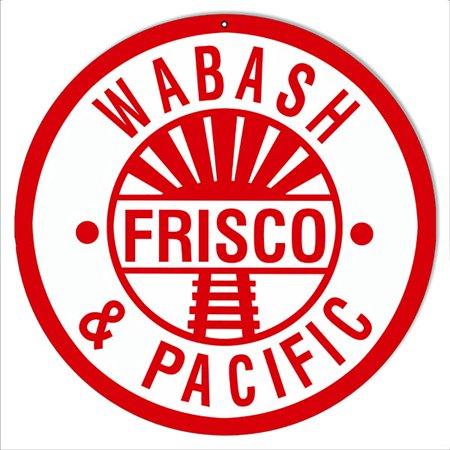 Frisco Railroad (Reproduction Wabash Frisco Pacific Railroad Metal  Sign 14 Round