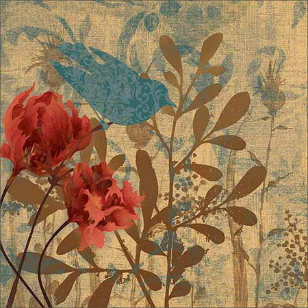 Bird & Botanical Silhouette Nature Painting Blue & Tan Canvas Art by Pied Piper (Silhouetted Bird)