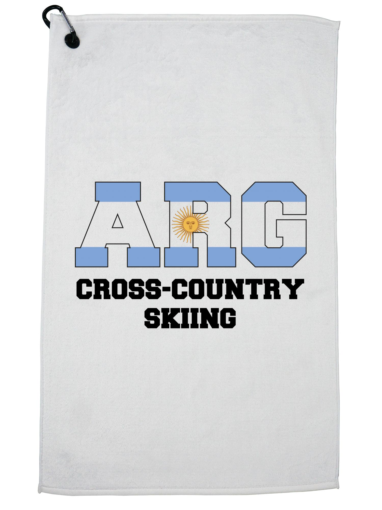 Argentinian Cross-Country Skiing Winter Olympic ARG Flag Golf Towel with Carabiner Clip by Hollywood Thread
