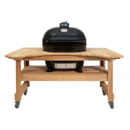 Primo Oval XL 400 Ceramic Smoker Grill On Curved Cypress Table Primo Cypress Wood Table