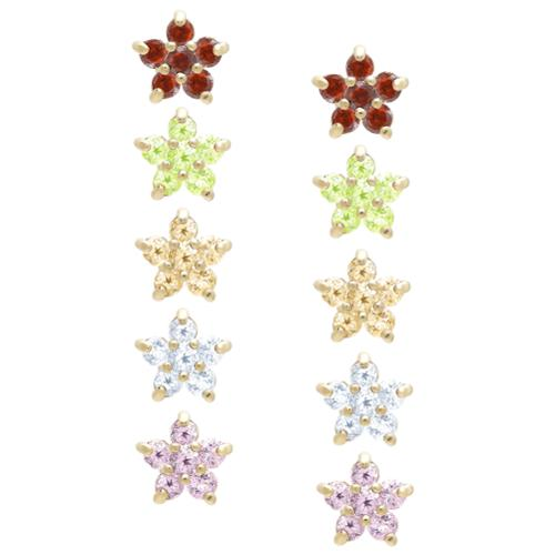Dolce Giavonna  Gold Over Sterling Silver Gemstone Flower Stud Earrings Set
