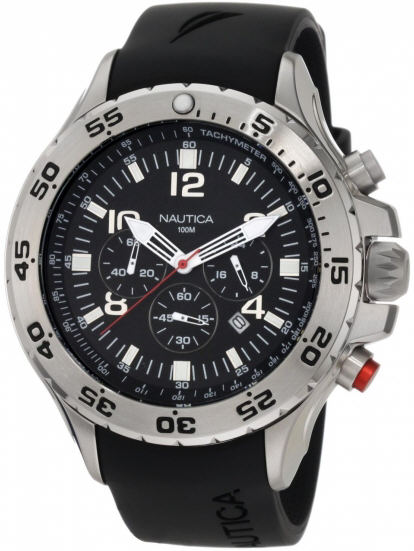 Nautica Men's NST Chrono N14536G Black Resin Quartz Watch by Nautica