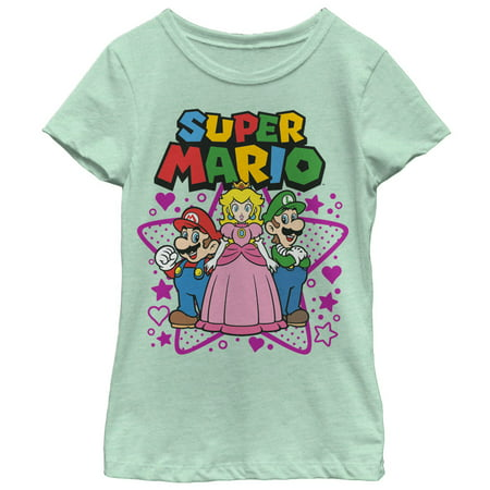 Nintendo Girls' Super Mario Character Trio T-Shirt - Girl Soper
