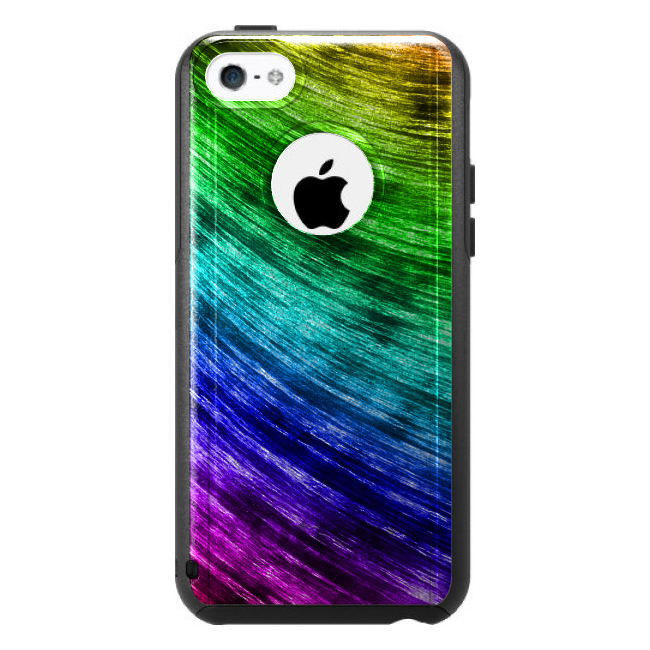 DistinctInk™ Custom Black OtterBox Commuter Series Case for Apple iPhone 5C - Rainbow Shimmering Curve