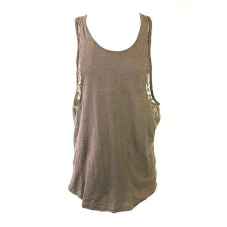 Inset Sleeveless (RRR Mocha Brown Sleeveless Lace-Inset Tank Top M)